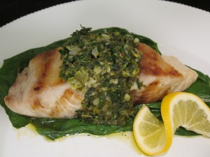 Grilled Mahi Mahi with Lemon Herb Sauce