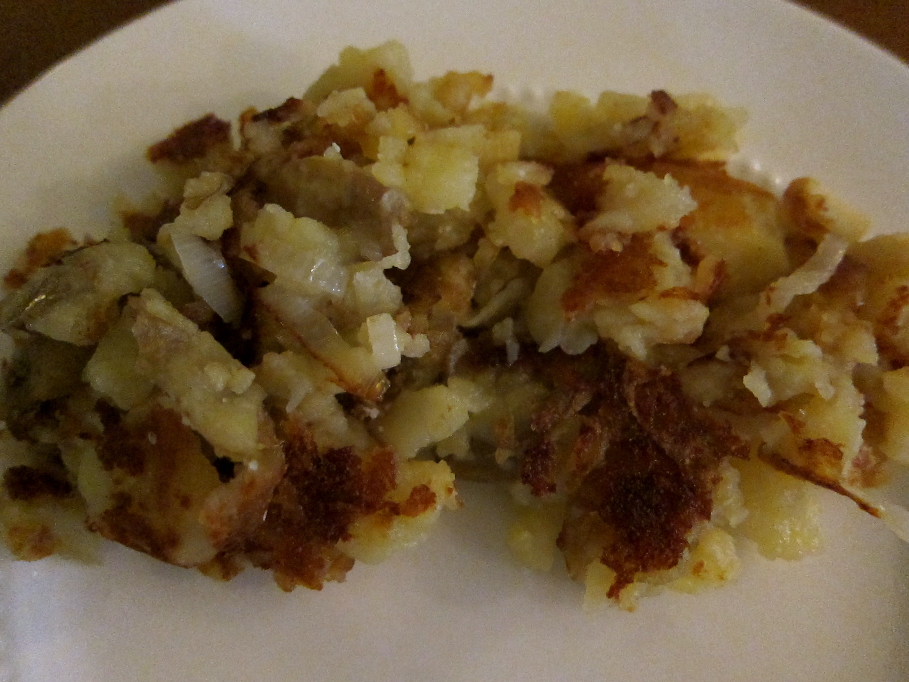 Smashed Potatoes on Plate