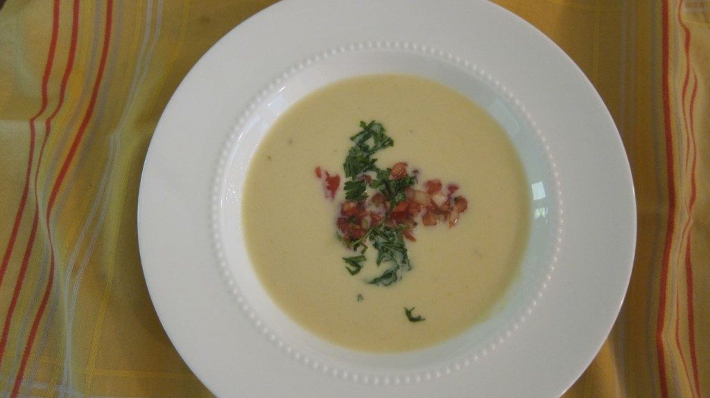 Fresh Corn Bisque with Tomato and Basil and Shallot Pesto