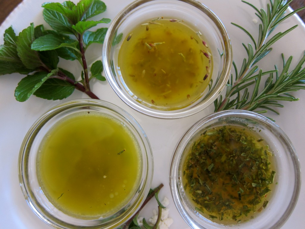 From bottom left: Greek, Provencal and Tarragon Vinaigrettes