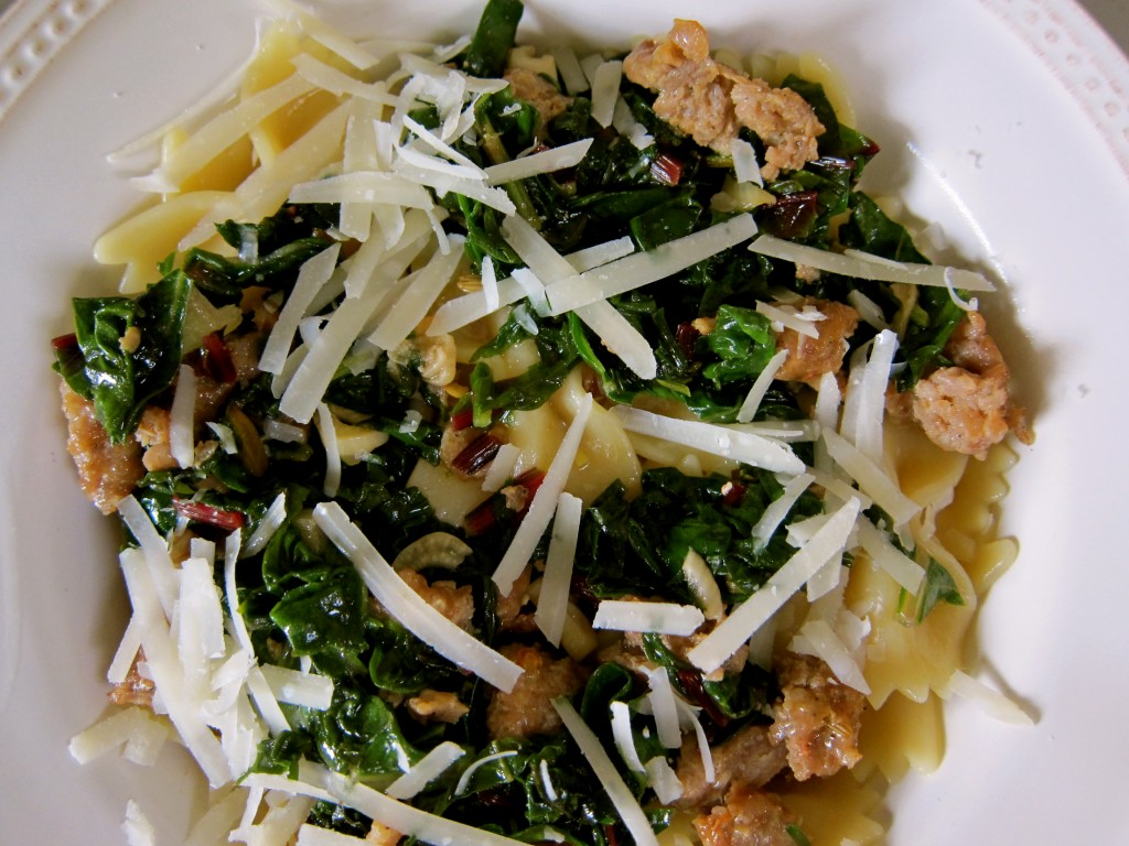 Sautéed winter greens and spicy Italian sausage with Farfalle pasta. Buon appetito!