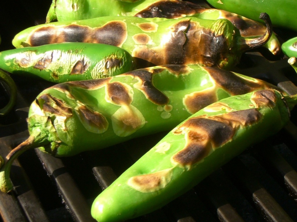 roasted hatch peppers closeup