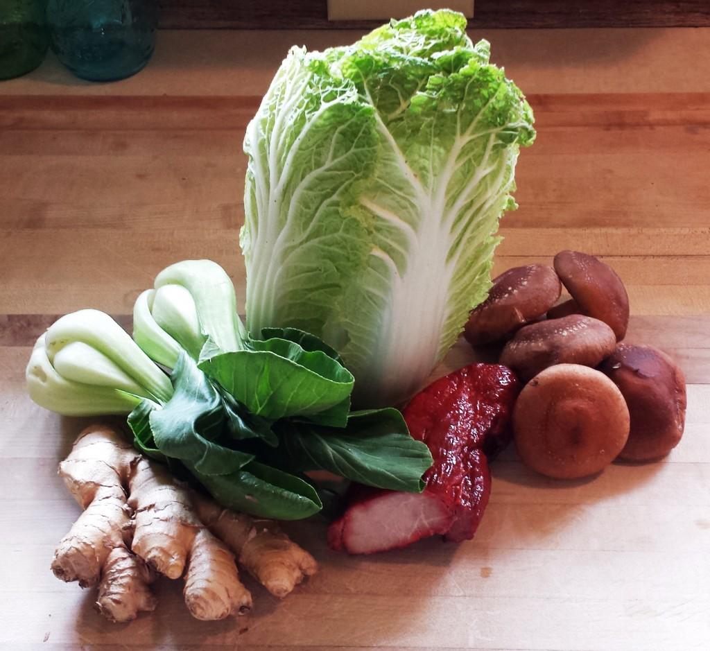 Napa cabbage, baby bok choy, ginger, Chinese barbecued pork, shiitake mushrooms